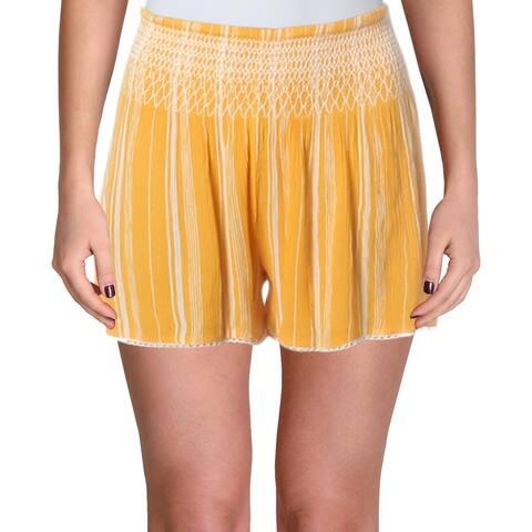 Aqua Womens Shorts Smocked Striped - Gold - L