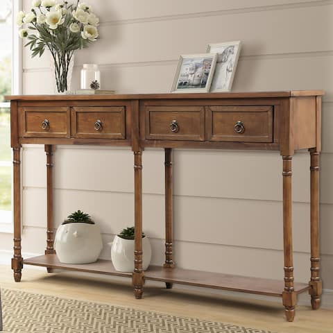 Console Table for Entryway with Drawers Long Shelf Rectangular, Walnut