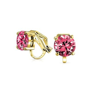 Bling Jewelry Clip On No Piercing Red CZ Stud earrings Gold Plated 8mm