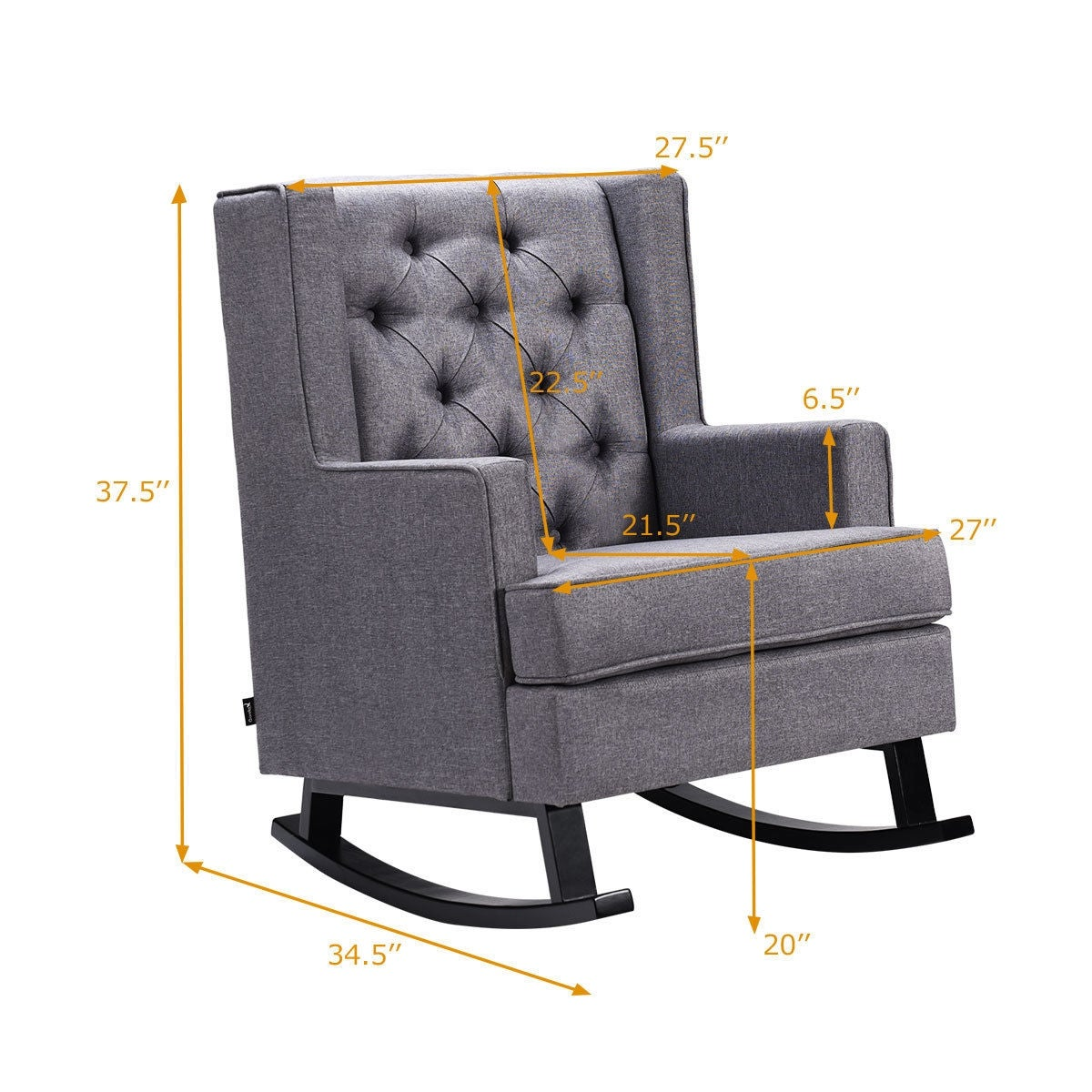 Amazing Costway Mid Century Retro Fabric Upholstered Button Tufted Wingback Rocking Chair Gray Customarchery Wood Chair Design Ideas Customarcherynet
