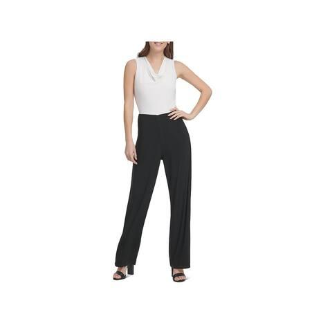 Donna Karan Womens Jumpsuit Cowl Neck Sleeveless - Black/Ivory