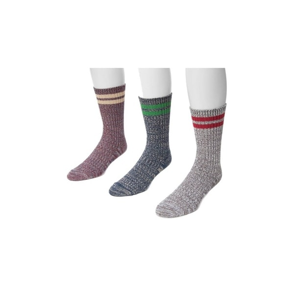 Muk Luks Socks Mens Microfiber Striped 3 Pack O/S Multi-Color 00 - One size