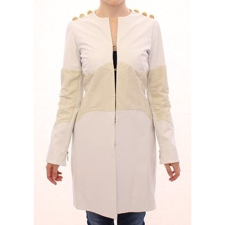 Vladimiro Gioia White Leather Long Crocco Jacket - it42-m