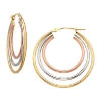 c6e1ea6a9 Shop Eternity Gold Concentric Hoop Earrings in 14K Three-Tone Gold ...