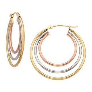 Just Gold Triple Hoop Earrings in 14K Three-Tone Gold