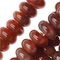 Carnelian Gemstone Beads, Rondelles 4x8mm, 15.5 Inch Strand, Red Orange