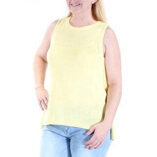 BAR III $59 Womens New 1713 Yellow Jewel Neck Sleeveless Hi-Lo Sweater L B+B
