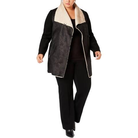 Calvin Klein Womens Plus Coat Faux Fur Open Front - Black