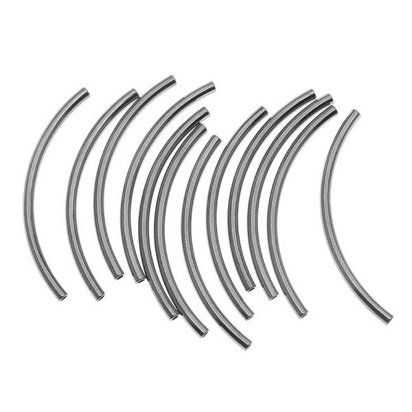 Gun Metal Plated Curved Noodle Tube Beads 2mm x 38mm (12)