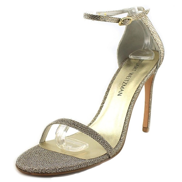 Stuart Weitzman Nudistsong Women Open Toe Canvas Gold Sandals