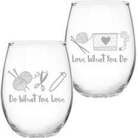 Do What You Love - Knit Happy Barrel Shaped Glass 21Oz