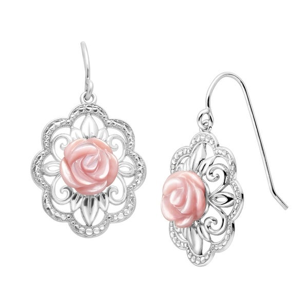 Pink Mother-of-Pearl Filigree Rose Drop Earrings in Sterling Silver