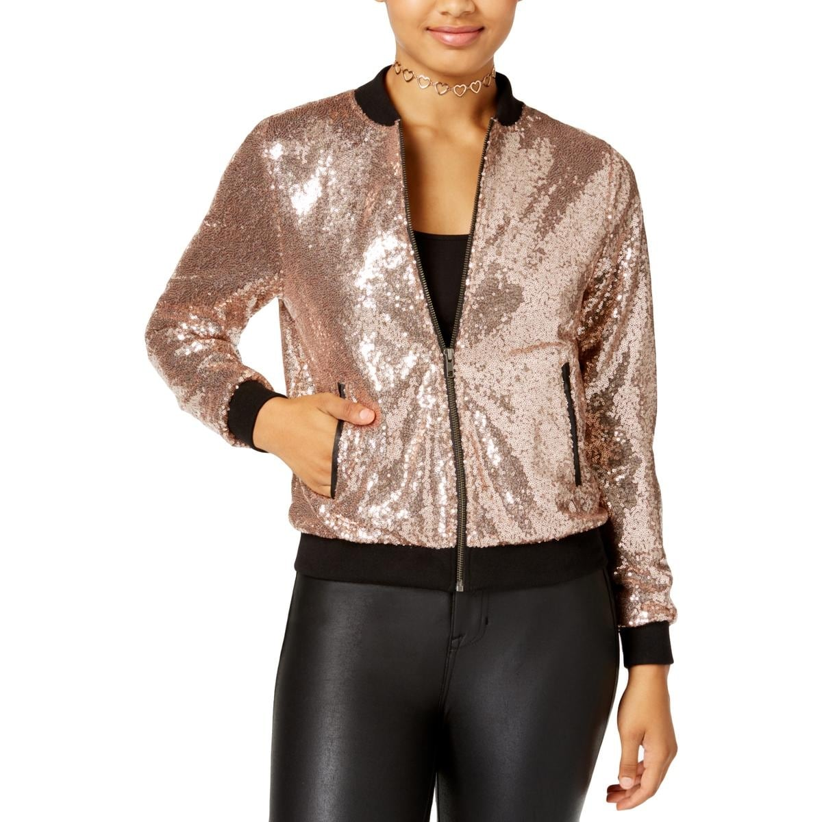 soft and light online sale select for official The Edit Womens Juniors Bomber Jacket Spring Sequined