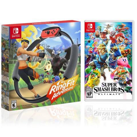 RingFit Adventure + Super Smash Bros. Ultimate - 2 Game Bundle - - Black