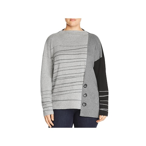 Nic + Zoe Womens Plus Pullover Sweater Striped Grommet