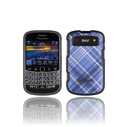 Speck Plaid Fitted Case for BlackBerry Bold 9900/9930 (Blue) (Bulk Packaging)