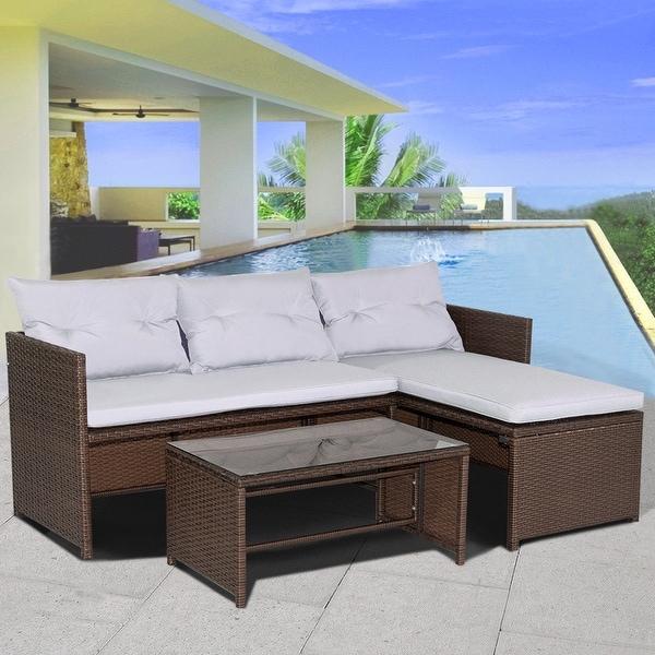 Shop Costway 3PC Outdoor Patio Sofa Set Rattan Wicker Deck ... on Safavieh Outdoor Living Granton 5 Pc Living Set id=68733