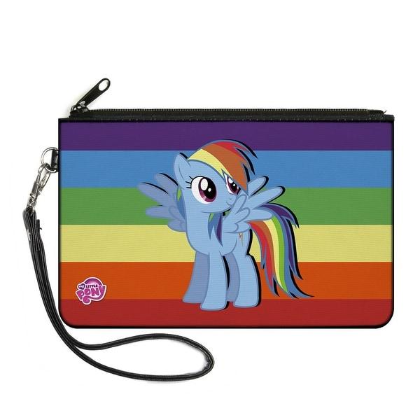 Rainbow Dash Pose Centered Rainbow Stripe Canvas Zipper Wallet
