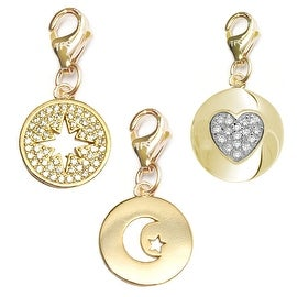 Julieta Jewelry Moon & Star Disc, Starburst, Heart Disc 14k Gold Over Sterling Silver Clip-On Charm Set