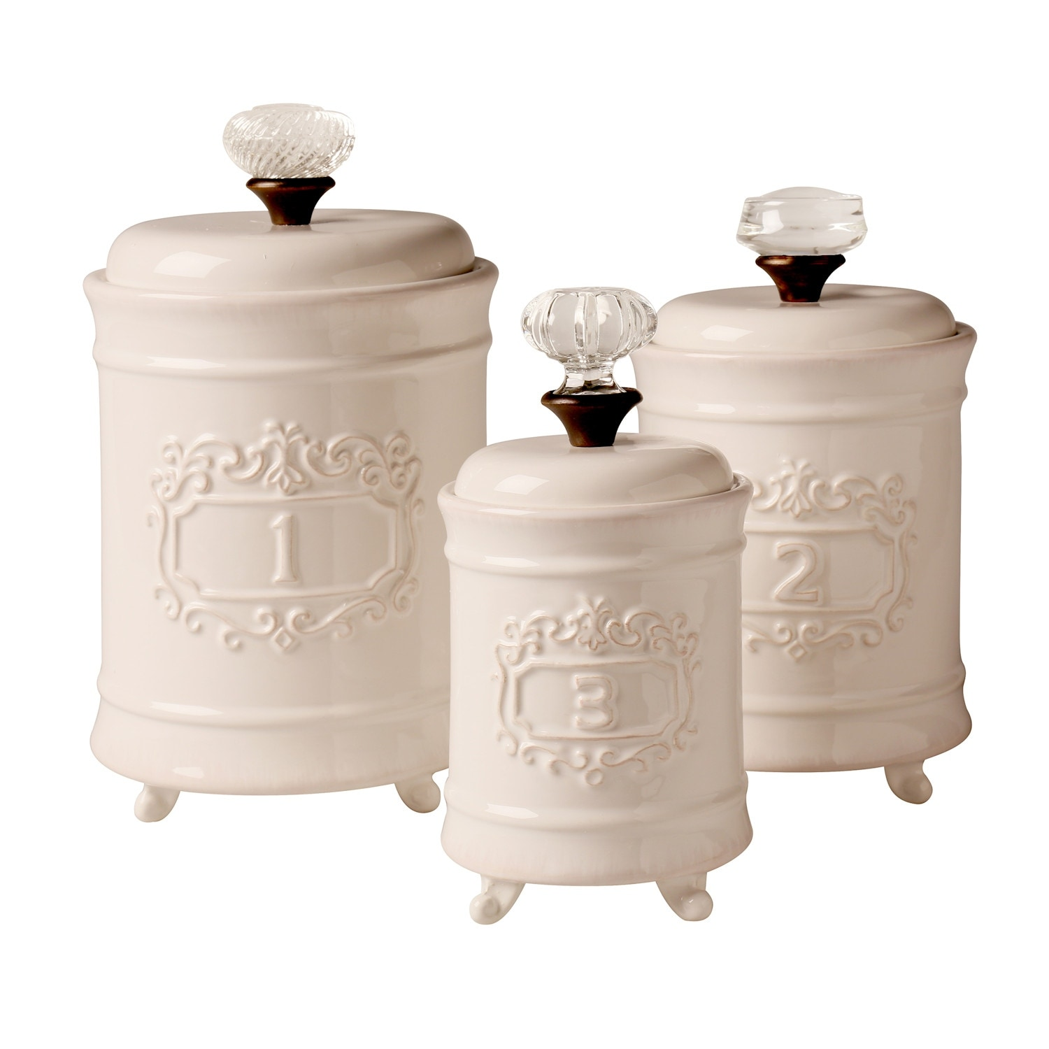 Mud Pie Kitchen Canisters - White Ceramic Lidded Jars - Set of 3 - 10 in. x  6 in. x 6 in.