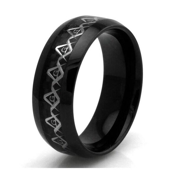 Black Stainless Steel Carbon Fiber Masonic Inlay Ring
