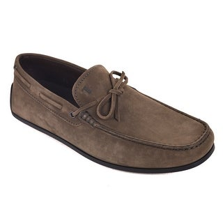 Tod's Coffee Brown Suede Scooby Gomma Slip On Moccasins