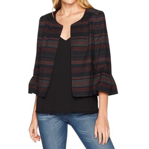 Nine West Black Womens 16 Striped Frill-Sleeve Open-Front Jacket