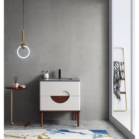 "BURANO 30"" Beige/Aloe Green Freestanding Modern Bathroom Vanity Set"