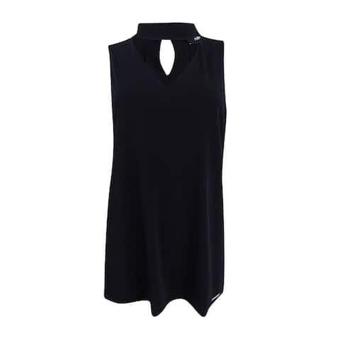 Nine West Women's Plus Size Choker Shell Top - Black
