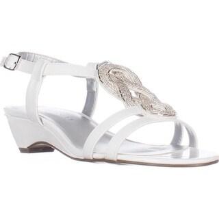 KS35 Clemm Low-Heel Dress Sandals, White