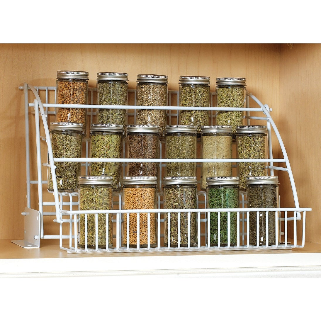 shop rubbermaid fg8020rd 3 tier pull down wire spice rack white rh overstock com