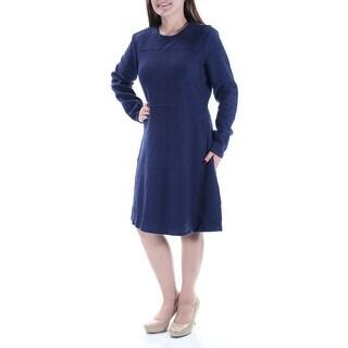 MAISON JULES $100 Womens New 1161 Navy Long Sleeve Jewel Neck Dress M B+B