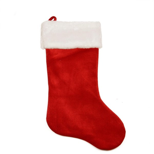 "24"" Large Traditional Red Velveteen Christmas Stocking with White Faux Fur Cuff"
