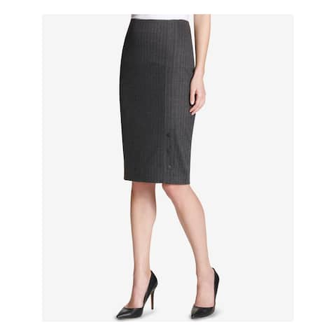 TOMMY HILFIGER Womens Gray Pinstripe Knee Length Pencil Wear To Work Skirt Size: 12