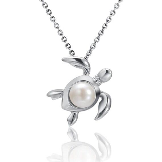 "Sea Turtle Pearl Necklace Sterling Silver Pendant 18"" Chain"