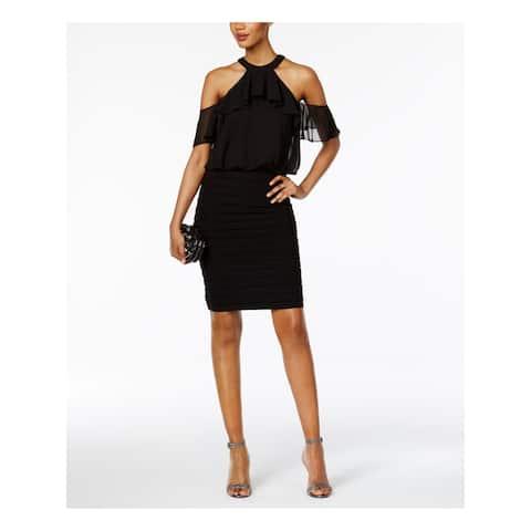 BETSY & ADAM Black Sleeveless Knee Length Body Con Dress Size 2