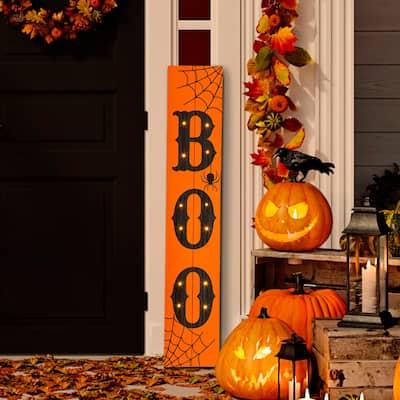 Glitzhome Halloween Wooden Porch Sign