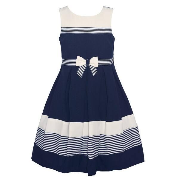 00417255a0 Shop Bonnie Jean Little Girls Navy White Striped Sleeveless Sailor ...