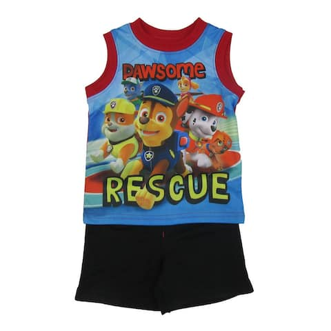 """Nickelodeon Baby Boys Black Blue """"Pawsome Rescue"""" 2 Pc Shorts Outfit"""