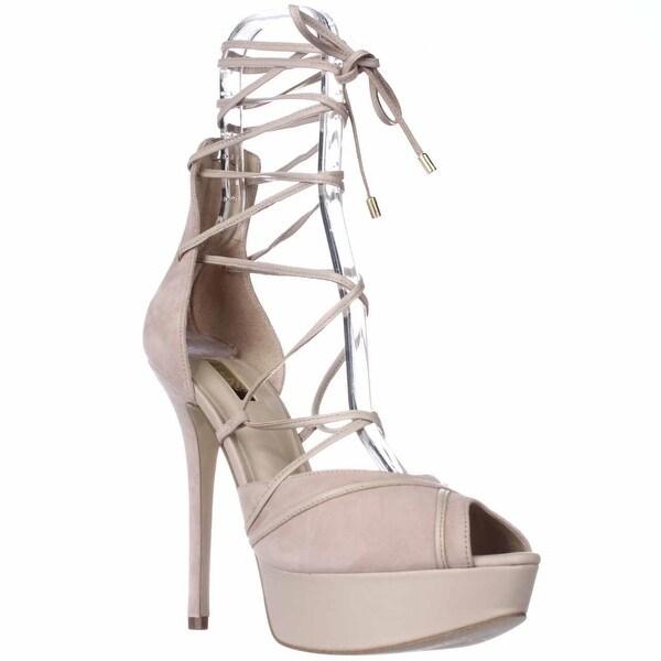 GUESS Raja Platform Lace Up Peep Toe Dress Sandals, Light Natural