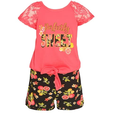 cda1c686d56 Real Love Little Girls Coral Lace Covered Sleeve Floral 2 Pc Shorts Set