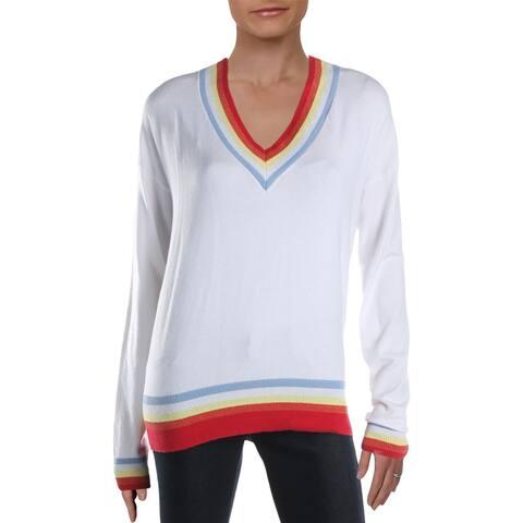 Aqua Womens Pullover Sweater Contrast Trim V-Neck - Ivory - M