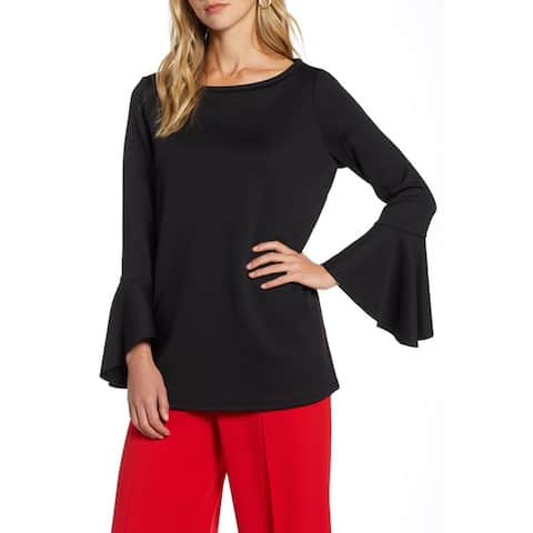 Halogen Flare Sleeve Knit Top, Black, Small