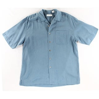 AntholOgy NEW Blue Men Size Large L Short Sleeve Button Down Silk Shirt