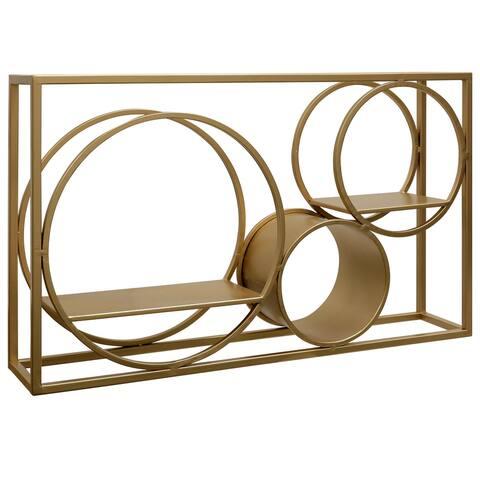 Harp & Finial Matson Gold Metal Art Wall Shelves