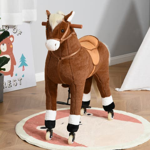Qaba Ride-on Walking Rolling Kids Horse with Easy Rolling Wheels, Soft Huggable Body, & a Large Size for Kids 5-12 Years
