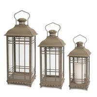Set of 3 Antique Gray Mission Style Glass and Metal Pillar Candle Lanterns 20""