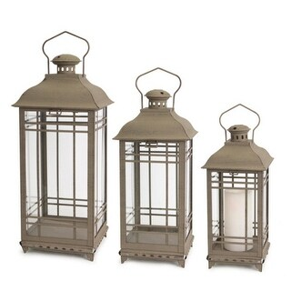 """Set of 3 Antique Gray Mission Style Glass and Metal Pillar Candle Lanterns 20"""""""