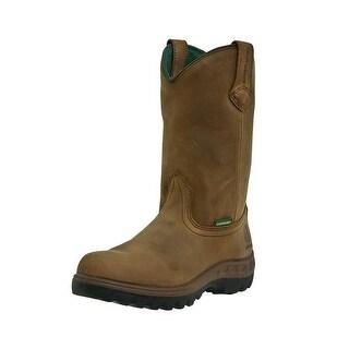 John Deere Work Boots Mens Waterproof Steel Toe Wellington Tan
