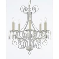 Wrought Iron and Crystal 5 Light White Chandelier Pendant